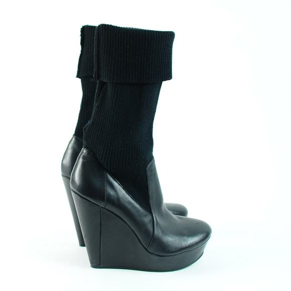 ef8df598515 MESSECA leather   sweater CARLA tall wedge boot 10